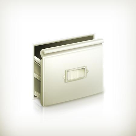 catalog: Open kaartenbak, vector icon
