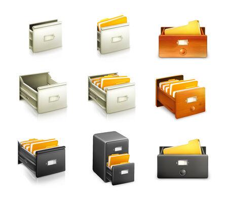 catalog: Kaartenbak, set van vector iconen