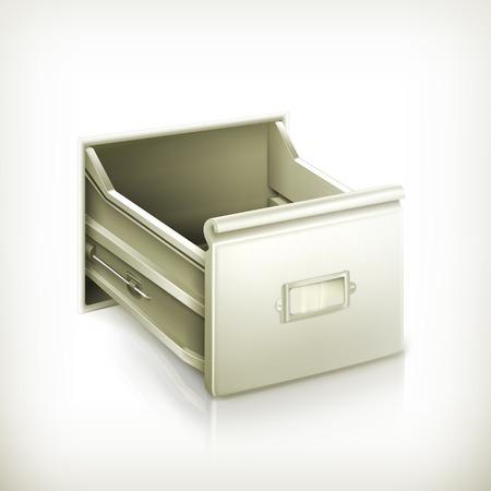 file box: Open card catalog, vector icon