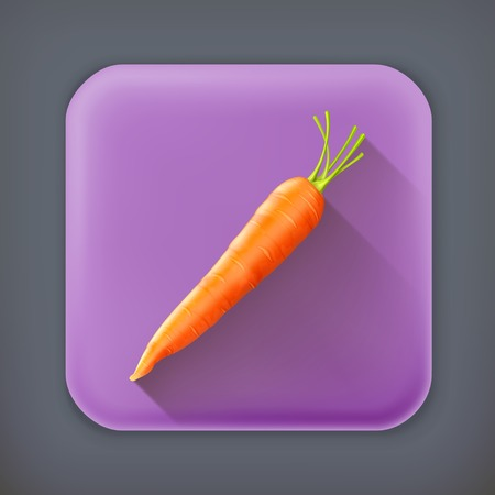 square root: Carrot, long shadow vector icon Illustration
