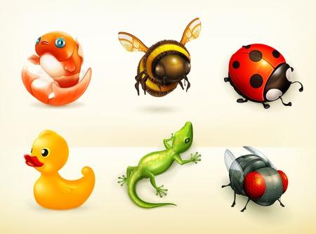 catarina caricatura: Personajes de dibujos animados, iconos conjunto de vectores Vectores