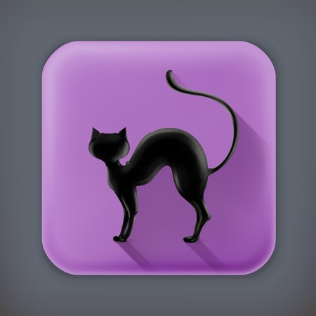 10eps: Cat silhouette, long shadow vector icon Illustration