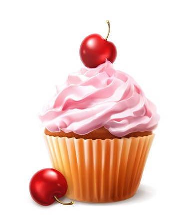 birthday cakes: Cherry cupcake, vector Illustration