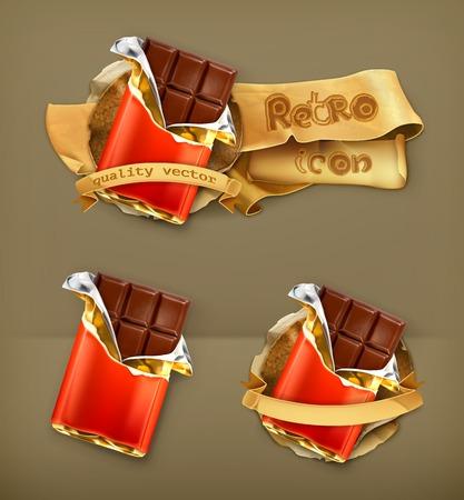 candy bar: Chocolate, retro vector icon