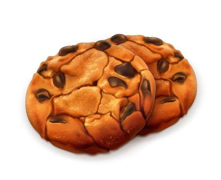 tempting: Chocolate cookies, detailed vector