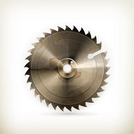 blade cut: Circular saw blade, old style vector
