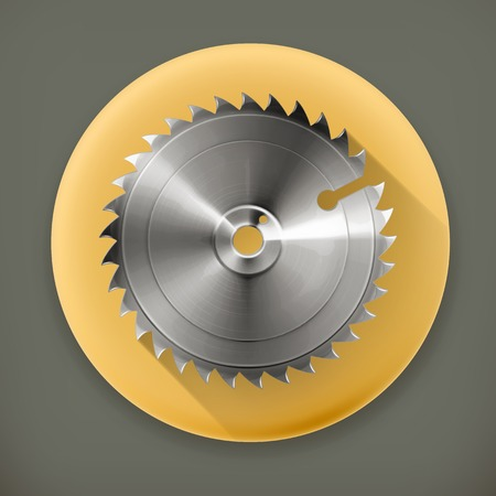 saws: Circular saw blade, long shadow vector icon