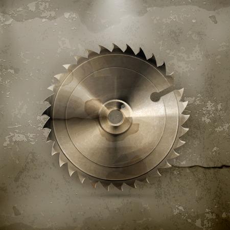 saw blade: Circular saw blade, old style vector