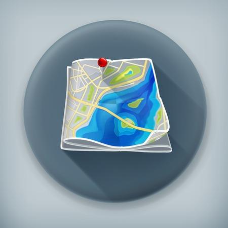 City map, long shadow vector icon Vector
