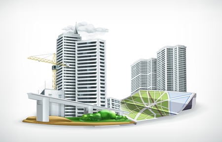 construction plans: City vector illustration