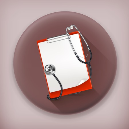 Clipboard with stethoscope long shadow vector icon
