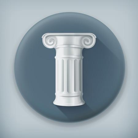antigua grecia: Columna, icono vector larga sombra
