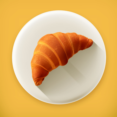 bread and butter: Croissant, long shadow vector icon