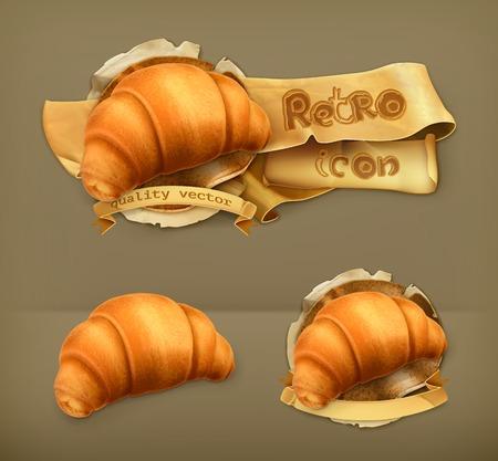 buttery: Croissant, retro vector icon