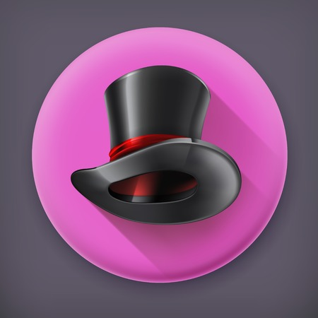 magic show: Cylinder hat, long shadow vector icon