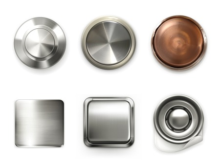 Detailed metal buttons, set Illustration