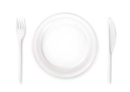 disposable: Dinner place setting, vector