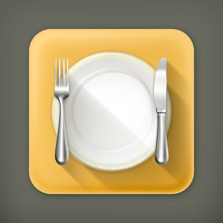 dinner setting: Dinner place setting, vector flat icon
