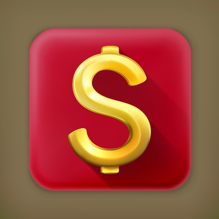 dollar sign icon: Dollar sign, long shadow vector icon