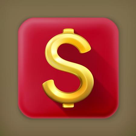 metal sign: Dollar sign, long shadow vector icon