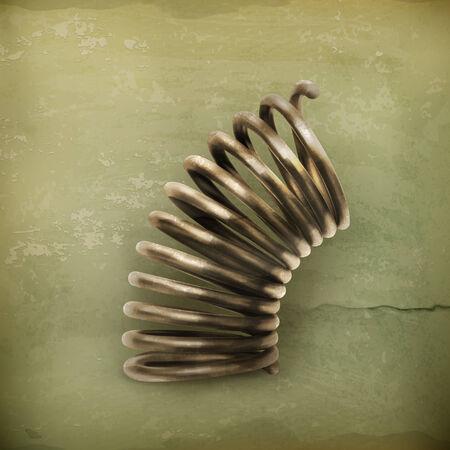 metal spring: Elastic metal spring, old style vector