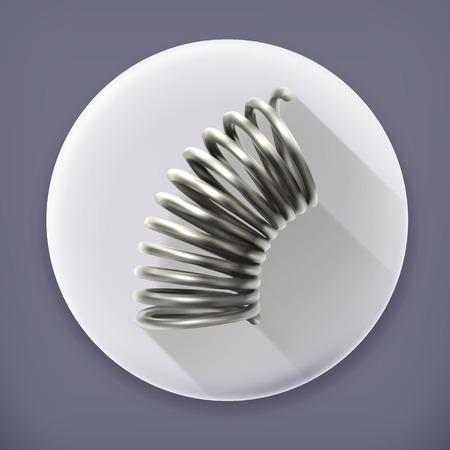metal spring: Elastic metal spring long shadow vector icon