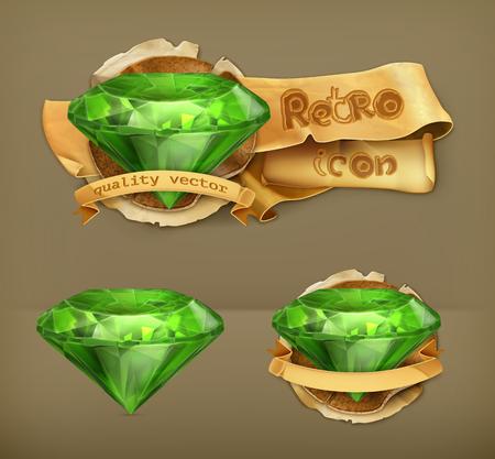 emerald gemstone: Emerald green, retro vector icon