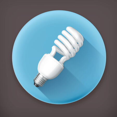 helical: Energy saving lamp long shadow icon