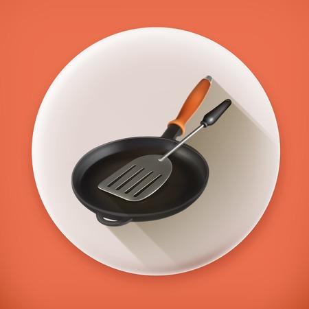 browning: Frying pan and spatula long shadow icon