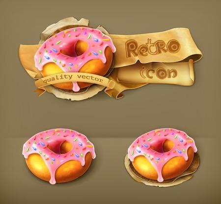 Glazed ring doughnut retro icon