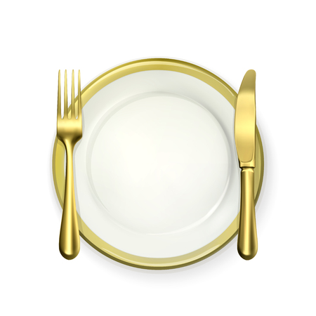 place setting: Gold dinner place setting