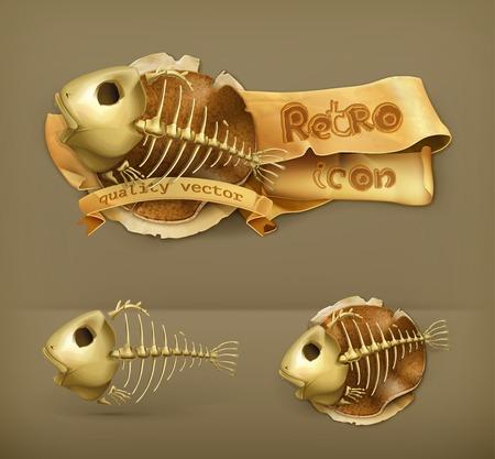 skeleton of fish: Icono de esqueleto de pescado