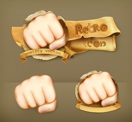 clench: Fist retro icon Illustration