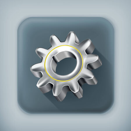 metal parts: Gear long shadow icon