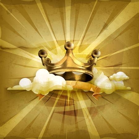 corona rey: Corona de oro del fondo del estilo antiguo Vectores