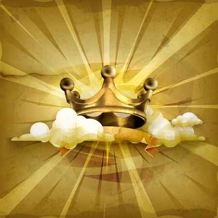 crown king: Gold crown old style background Illustration