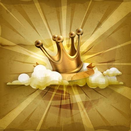 corona rey: Corona del oro del fondo del estilo antiguo Vectores