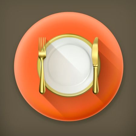 Gold dinner place setting long shadow icon Vector