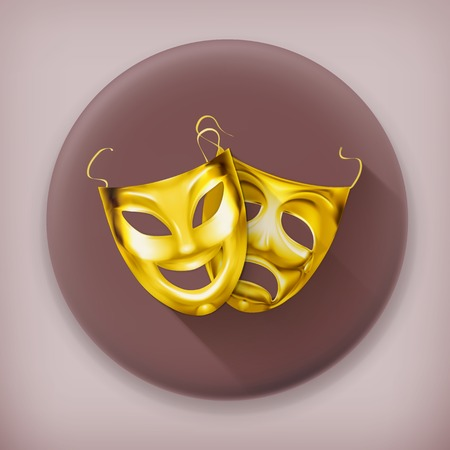 theater masks: Gold theater masks long shadow icon Illustration