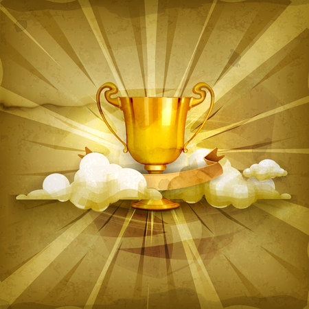 sports event: Gold trophy old style background