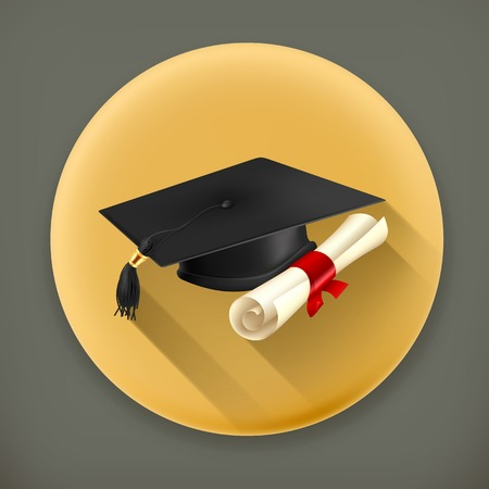 credential: Graduation cap and diploma long shadow vector icon Illustration