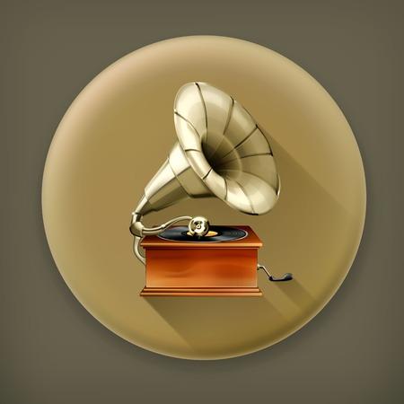 gramophone: Gramophone long shadow icon Illustration
