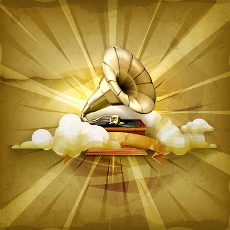 phonograph: Gramophone, old style background