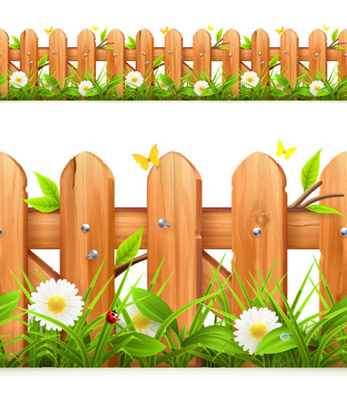 wood planks: Grass and wooden fence seamless border, illustration