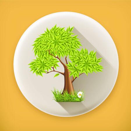 sedge: Green Tree long shadow icon