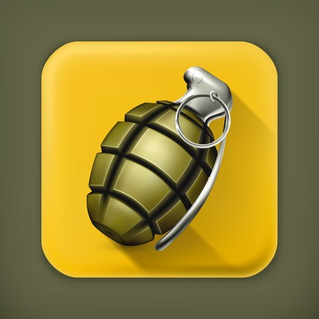 hand grenade: Hand grenade long shadow icon