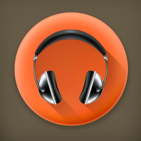 head phones: Head phones long shadow icon