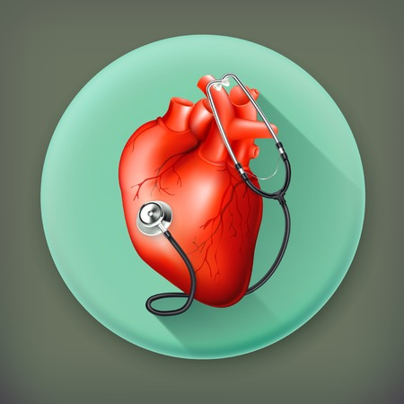 heart sounds: Heart and stethoscope long shadow icon