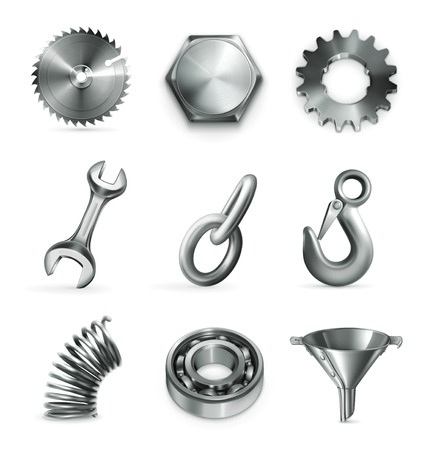 Industry, set of icons Illustration