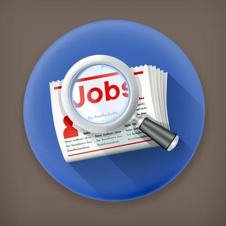 Job Search, long shadow icon Vector